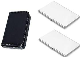 okasta 15 Card Holder  (Set of 3, Silver, Black)