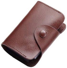 OKASTA Brand Credit Card Holder Vintage Split Leather Cardholder Business Card Case Buckle Card id Holders Retro 15 Card Holder  (Set of 1, Black)