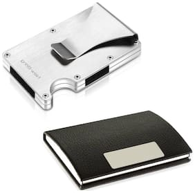 OKASTA Combo of 1 Silver Metal ATM With Money Clip Limited Edition & 1 Trendy Classy ATM / ID / DEBIT / CREDIT / VISITNG 10 Card Holder  (Set of 2, Multicolor)