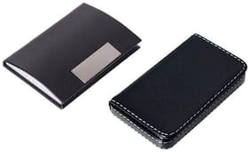 OKASTA High Quality | Combo Of 2 | High Quality Black Leather Soft Visiting and Black Leather Visiting 15 Card Holder  (Set of 2, Black)