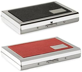 OKASTA High Quality | Combo of 2 | Steel Black Leather Piece Metal Waterproof ATM And 1 Red Leather Piece Steel Card Holder 6 Card Holder  (Set of 2, Silver)