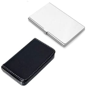 OKASTA New Soft Black Leather Premium & Stainless Steel Waterproof Visiting 6 Card Holder  (Set of 2, Multicolor)