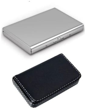 okasta Steel Plain Luxury ATM & Soft Black Leather Executive Silver Visiting 6 Card Holder  (Set of 2, Multicolor)
