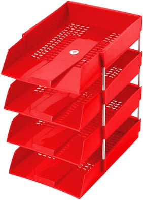 Omega 1718PP Office Tray - PP (Set of 4 Tray) (Red) Use For Letter Tray/Files Tray/Documents Tray/Folder Tray