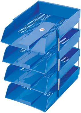 Omega 1718PP Office Tray - PP (Set of 4 Tray) (Blue) Use For Letter Tray/Files Tray/Documents Tray/Folder Tray
