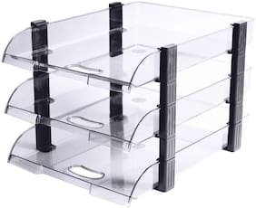 Omega 1758/U3 Unbreakable Executive File Tray (Set of 3 Tray) Clear Use For Letter Tray/Files Tray/Documents Tray/Folder Tray etc.