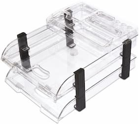 Omega 1758/UT Unbreakable Executive File Tray with TOP (Set of 2 Trays with top) Clear Colour Use as Letter Tray/Files Tray/Documents Tray/Folder Tray etc.