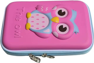 OWL Design Big Shaped Pencil Pouch (Set of 1;Pink)