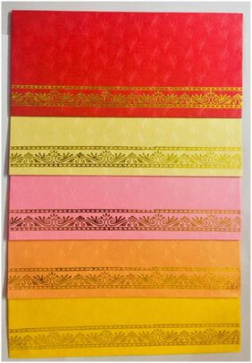 Pack of 40 Exclusive Gold printed design on Metallic Paper Shagun Envelopes in assorted bright colors