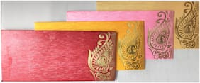 Pack of 40 Exclusive Gold Foil on Pearl Finish paper printed design Shagun Envelopes in assorted bright colors