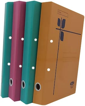 Paper Cobra Files with Spring Inside Document Holder (Multicolor) - Pack of 4
