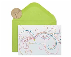 Papyrus Blank Thank You Cards with Envelopes, Swirl Glitter (14-Count)