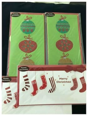 PAPYRUS CHRISTMAS STOCKINGS & ORNAMENTS MONEY ENCLOSURE GREETING CARDS- LOT OF 4