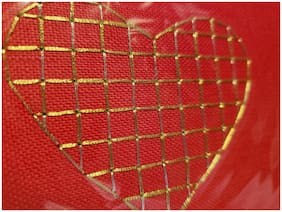 Papyrus Red Gold Stitched Embroidered Heart Blank Greeting Love Valentine's Card