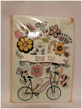 Papyrus Thank You 3D Bicycle Flowers Floral Rhinestone Card