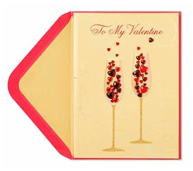 PAPYRUS Valentine's Day Card - Champagne Flutes With Jeweled Heart Bubbles