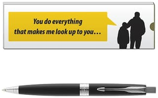 Parker Aster Laque Black CT Ball Pen With Dad Quote-7