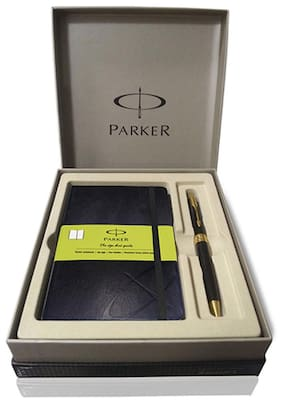 Parker Aster Lacque Black GT BP With Parker Small Size Notebook With Green
