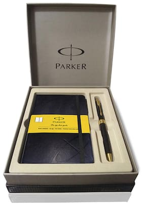 Parker Aster Lacque Black GT BP With Parker Small Size Notebook With Yellow