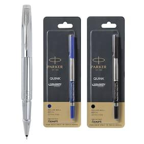 Parker Aster shiny Chrome CT Roller Ball Pen + Roller Ball Medium Refill (Blue & Black)