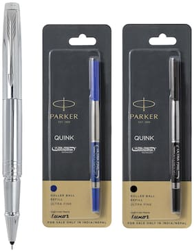 Parker Aster shiny Chrome CT Roller Ball Pen + Roller Ball Medium Refill (Blue & Black)
