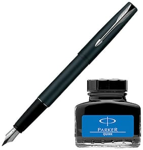 Parker Frontier Matte Black CT Fountain Pen with Blue Quink Ink Bottle (Pack of 2)