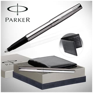 Parker Frontier Stainless steel CT with wallet Gift Set - 9 Roller Ball Pen