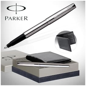 Parker Frontier Stainless Steel Gold Trim Fountain Pen Gift Set - Blue Ink, with Leather Wallet