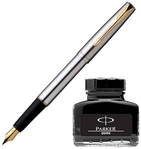 Parker Frontier Stainless Steel GT Fountain Pen with Black Quink Ink Bottle (Pack of 2)