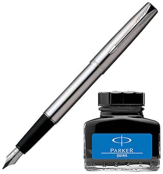 Parker Frontier Stainless Steel CT Fountain Pen with Blue Quink Ink Bottle (Pack of 2)