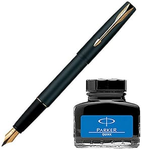 Parker Frontier Matte Black GT Fountain Pen + Quink In