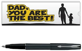 Parker Frontier Matte Black CT Roller Ball Pen With Dad Quote-1