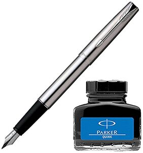Parker Frontier Stainless Steel CT Fountain Pen with Blue Quink Ink Bottle