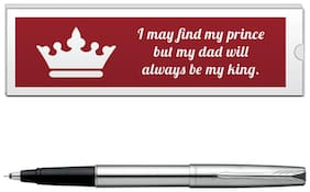 Parker Frontier Stainless Steel CT Roller Ball Pen With Dad Quote-4