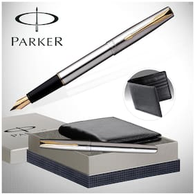 Parker Frontier Ss Gt Fountain Pen + Leather Wallet
