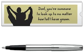 Parker Frontier Stainless Steel CT Roller Ball Pen With Dad Quote-6