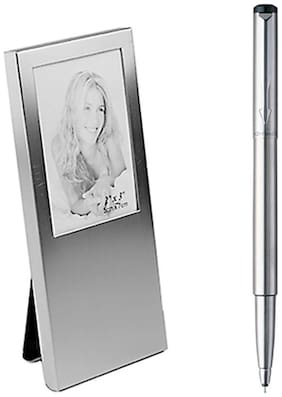 Parker Vector Chrome Trim Roller Ball Pen With Photo Frame