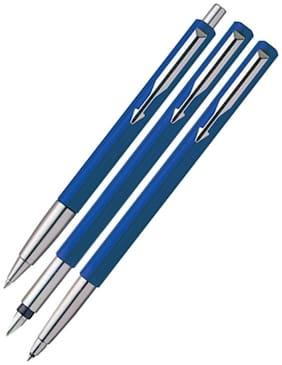 Parker Vector Standard Triple CT Pen (Blue) (Set Of Fountain Pen - Roller Ball Pen And Ball Pen)