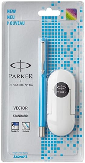 Parker Vector 9000023209 Standard Fountain Pen Chrome Trim Fine Nib Chrome (Blue) With 3 Free Ink Cart
