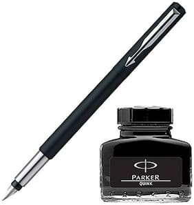 Parker Vector Matte Black CT Fountain Pen with Black Quink Ink Bottle