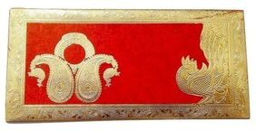 Parvenu Shagun Fancy Peacock Double Kerry Envelope in Multi Color.Pack of 50 Pieces.