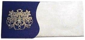 Parvenu Shagun Two Piece Satin Shagun Envelope in Blue Color.Pack of 10 pieces.