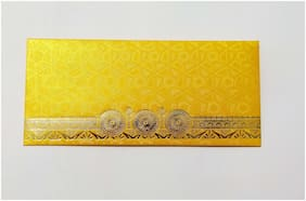 Parvenu Shagun Envelope in Round Flower Design Available in Yellow Color.Pack of 50 Pieces.
