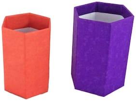 Pen Stand Desk Organiser Pencil Holder Handmade Set of 2 pcs Hexagon Small and Medium