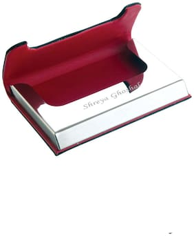 Personalized Blue leather and metal visiting card holder Carries 15-25 Cards
