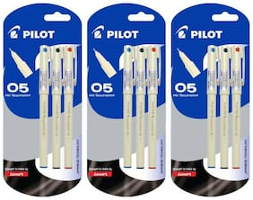 Pilot Hi-Techpoint 05 (1Blue + 1Black +1Red) Roller Ball Pen (Pack of 3)