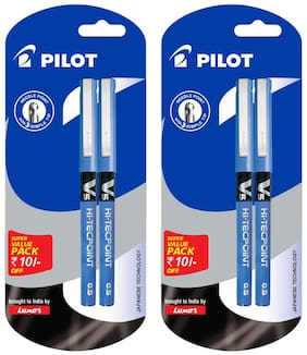Pilot V5 Pen (Pack of 4 Blue Pen) Pack of 2
