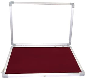 Pin-Up Board Lightweight Aluminium Frame with Door for Home Office School, 1.5X2 Feet, Maroon