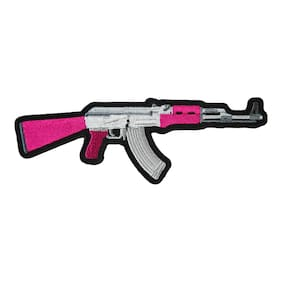 Pink & Silver Assault Rifle Embroidered Patch, Gun Patches