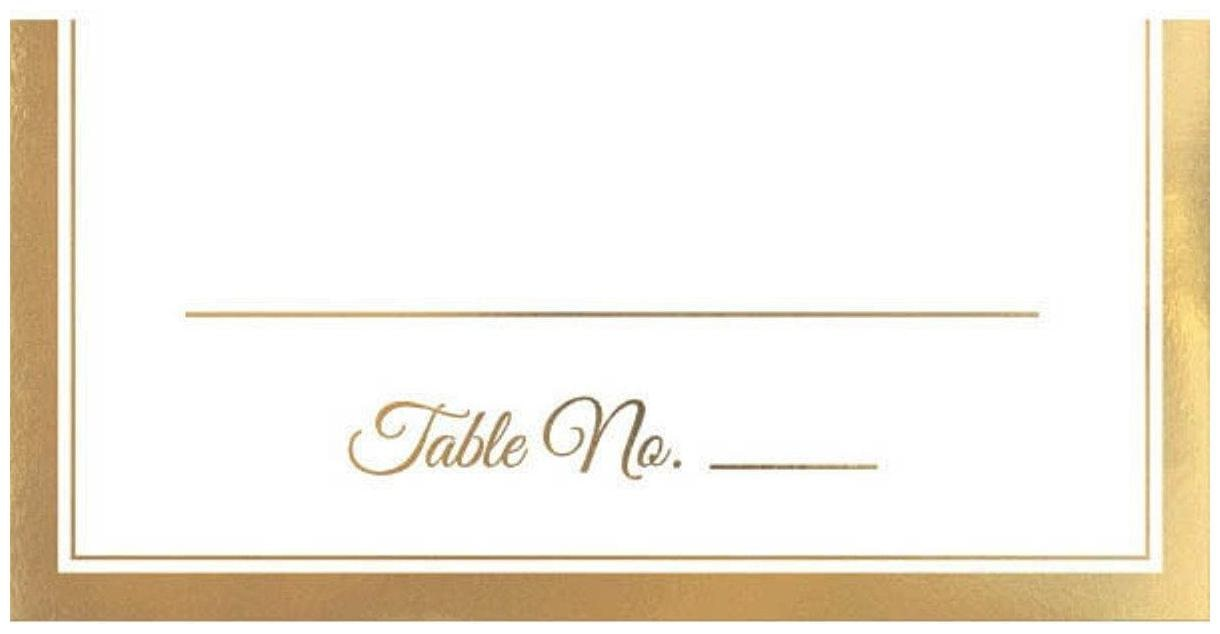 Place Cards 50 Ct Placecard White Gold Trim 4x4 Wedding Anniversary